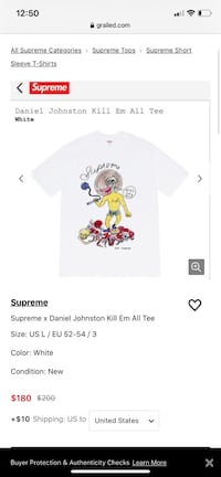 "SUPREME DANIEL JOHNSTON ""KILL EM ALL"" TEE MED WHITE"
