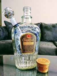 clear glass Crown Royal water bong