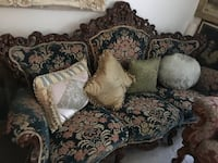 Italian carved sofa and two chairs