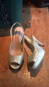pair of gray peep-toe ankle strap heels Norwich, N0J 1P0