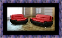 Red black sofa and loveseat 2pc set Laurel
