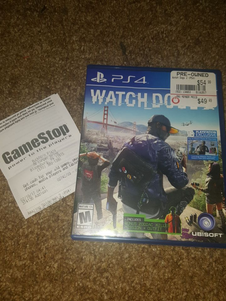 Watch Dogs 2 with 1 year warranty