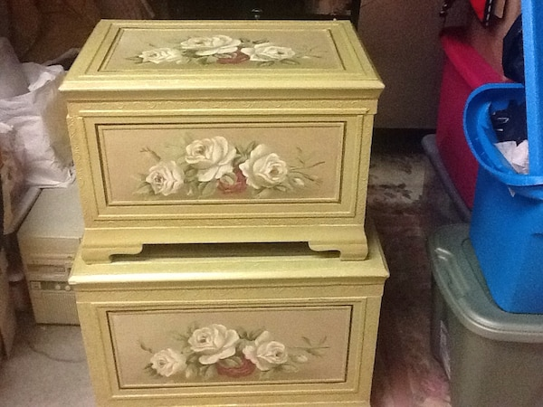 Green and floral decorative storage chests; set of 2: 1 large and 1 small:  measurements: large: 19 inches tall, 26 inches wide, 18 inches deep. small: 16 inches tall, 23 inches wide, 14 1/2 inches deep