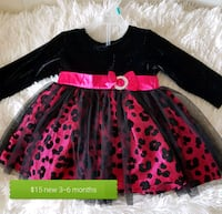 black and pink floral long-sleeved dress