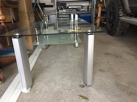 Glass top living room table and side table