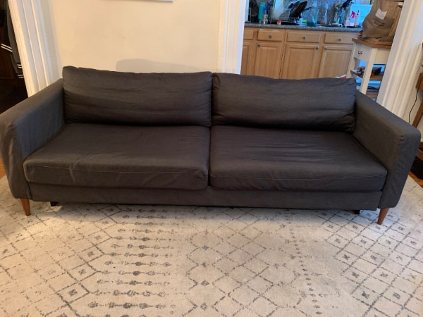 Brilliant Dark Gray Ikea Karlstad Sleeper Sofa White Cover Custom Legs Gmtry Best Dining Table And Chair Ideas Images Gmtryco