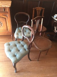 Two antique tufted chair, upholstery needs to change asking $400 for the pair negotiable