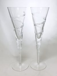 Set Of 2 Shannon Lead Crystal Swirl Champagne Flute Stemware Glasses By Godinger Carson, 90745