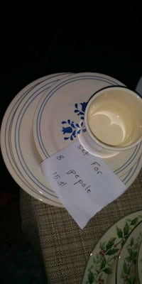 white and blue ceramic plate very good condition  Troy