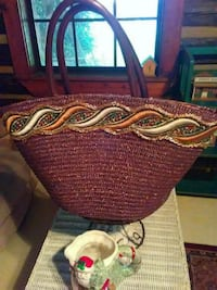 brown and red wicker tote bag Lancing, 37770