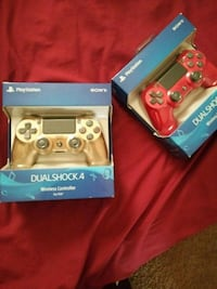two gold and red Sony PS4 controllers Harris County, 77093