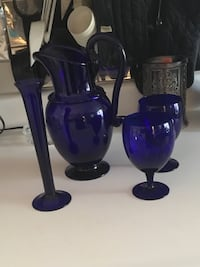 Glass Pitcher with matching glasses and Vase