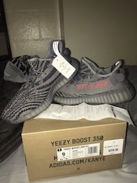 Pair of gray adidas yeezy boost 350 v2 with box Houston