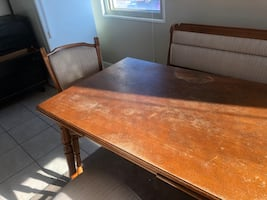 Table/ 2 bench style chairs and 2 sitting chairs