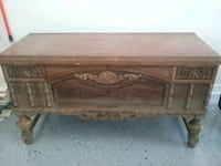 brown wooden 2-drawer table 1953 mi