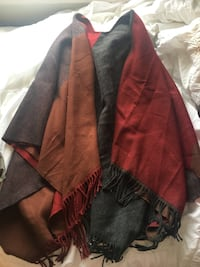 fringed red and black silk poncho Toronto, M6H 3Z9