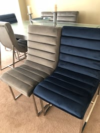7 Piece Dinning Table 2 blue chairs 4 gray glass top sliver / grey color table  Norcross, 30093
