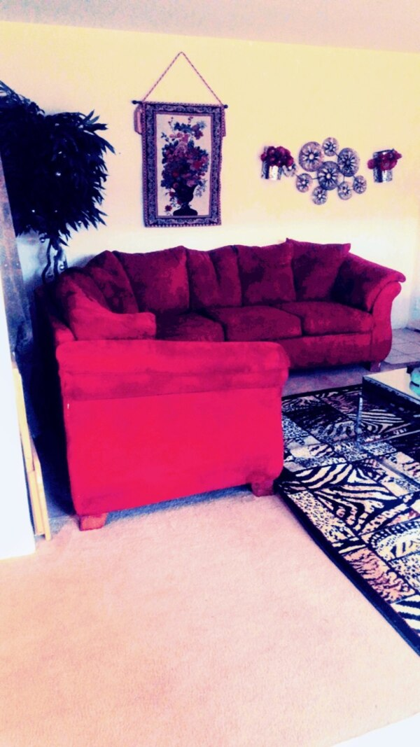 Whole apt w furniture Red couch Tv Fireplace loveseat tables 9f899b02-23a5-41d4-ac17-9ae172c0ac1f