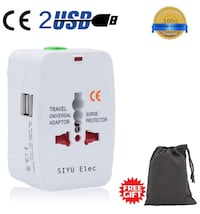 Travel Adapter, International Universal Power Converter Plug, All In One Outlet Charger US to Europe Argentina, Electrical Adaptor 220v with Dual USB for UK USA EU Australia South America Asia (white) brandnew picking up New York, 11214