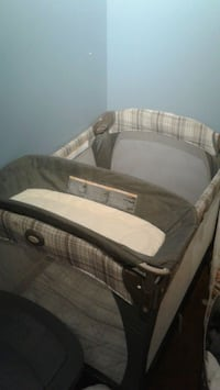 baby's gray and white travel cot Edmonton, T5M 0K8