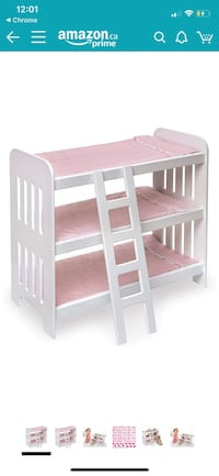 Triple Doll Bunk Bed with Ladder, Pink Mats (fits American Girl Dolls) Toronto, M9B 2R5