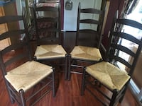 Ladder backs chairs (4) with woven rush seats