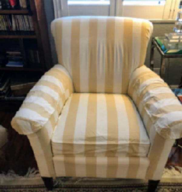 Enjoyable White And Yellow Striped Fabric Sofa Chair Andrewgaddart Wooden Chair Designs For Living Room Andrewgaddartcom