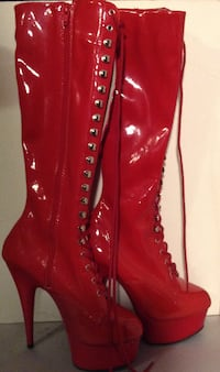 GET ALL THE ATTENTION Red patent leather stiletto knee-high boot