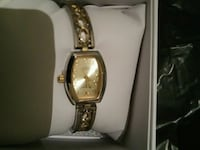square gold analog watch with gold link bracelet Jersey City, 07305