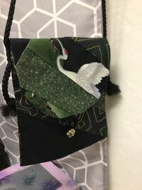 Black, white, and green swan purse. Asian influence.  Rogers, 72756