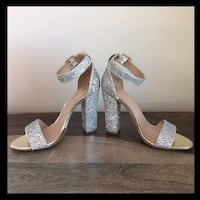 Mix No.6 Chunky Silver Glitter Heels (Zoom out) Moyock, 27958