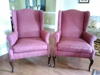 Two Beautiful Burgundy Armchairs with Wood Legs.  null, 08080
