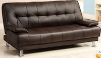 Brown leather futon bed (perfect condition)