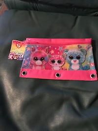 pink and yellow TY beanie pouch