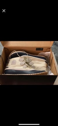 white and blue Air Jordan basketball shoes in box
