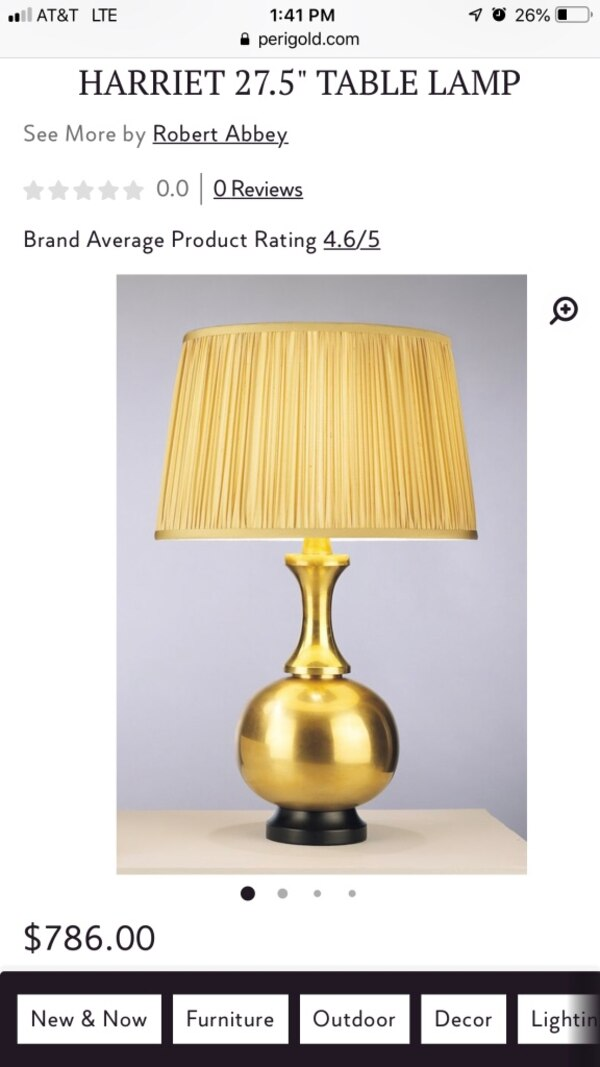 Robert Abbey Harriet Metallic Gold Table Lamp With Black Shade Retail 786 00