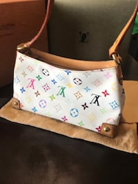 white and pink Louis Vuitton Monogram leather shoulder bag Corona, 92882