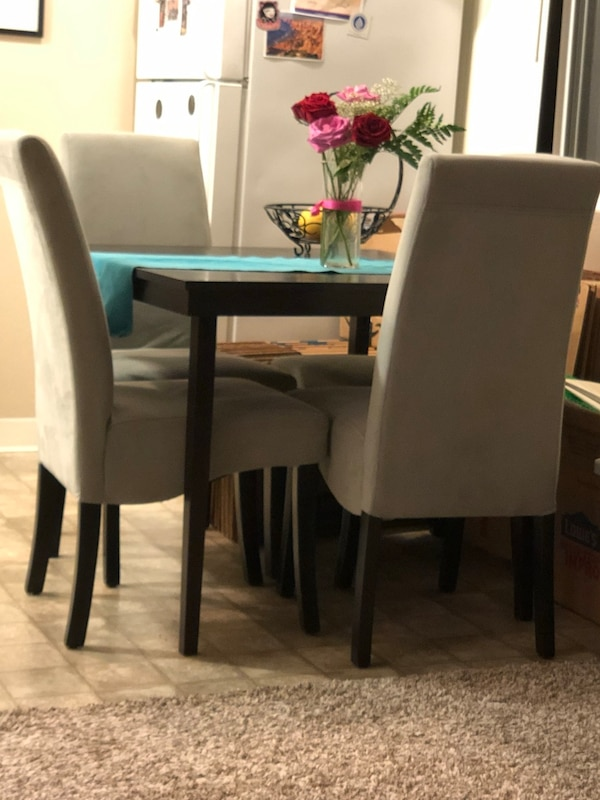 Used Square Black Table With Four Chairs Dining Set For Sale In Brisbane