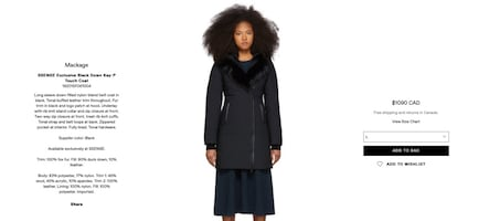 Mackage Exclusive Black Down Kay-P Touch Coat