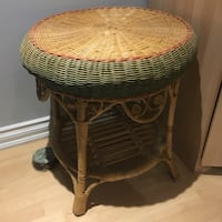 Round brown wicker table with glass top Toronto, M9W 1V1