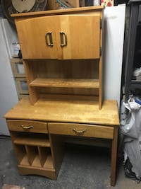Solid maple study desk and hutch