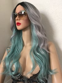 Turquoise gray black ombré wig 22 inch long wavy layered synthetic very high quality silk smooth texture classic just like human hair very well made