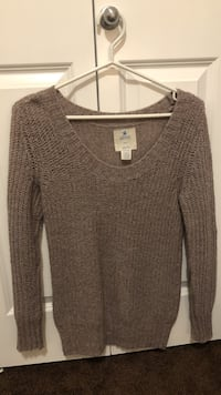 Women's taupe scoop-neck sweater