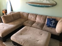 brown suede sectional couch with ottoman Huntington Beach, CA, USA