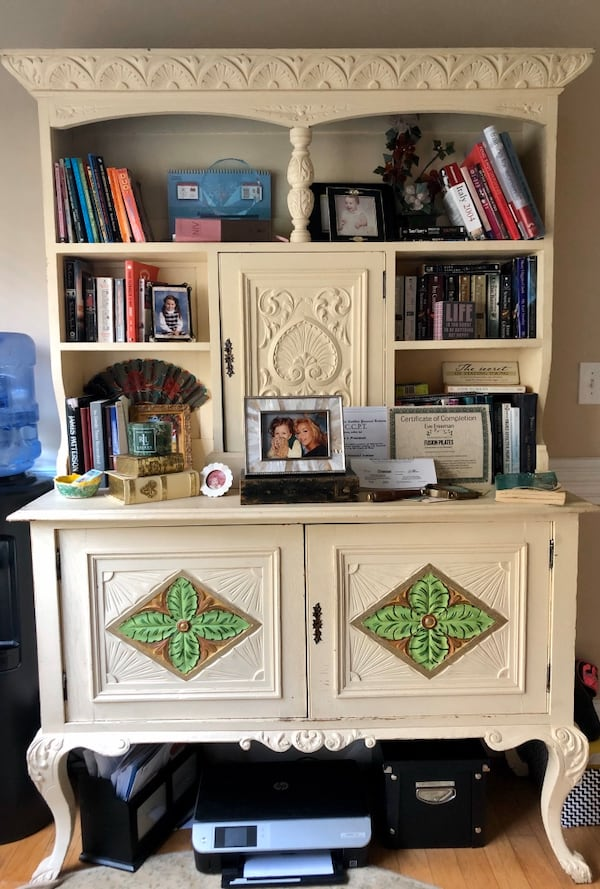 ANTIQUE CABINET, painted it but it could be sanded to walnut $600 FIRM 83c4a311-555e-45fb-ab05-87c7f0323e8c