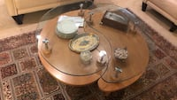 round clear glass-top table with brown wooden base Anaheim, 92807