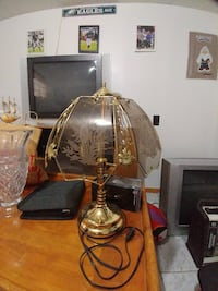 gold-colored base table lamp with glass lampshade York, 17404