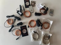 8 Brand new LED Copper Wire Lights, each spool has power supply, and 33 feet of copper wire with 100s of LEDs, indoor and outdoor use, fire safe, 2 sets come with remote, colors are orange, blue, warm white, soft white, all 8 for only $40.00  Meridian