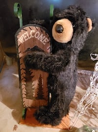 brown and black bear plush welcome  3ft tall 354 mi