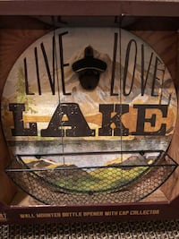 """""""Live, Love, Lake"""" Wall Mount Bottle Opener with Cap Collector Orrville, 44667"""